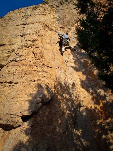 Mike Hillan on Little Thor, Mount Arapiles.