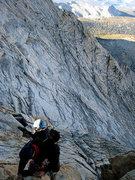 Rock Climbing Photo: Deron on the first downclimb (opt rap)