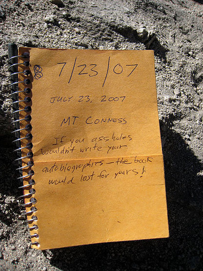 Rock Climbing Photo: my all-time favorite summit register entry