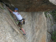 """Rock Climbing Photo: It's not quite over yet.  """"Where are the feet..."""