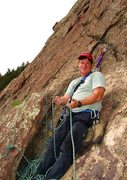 Rock Climbing Photo: Robert at the top of pitch 2 happy to have good cr...