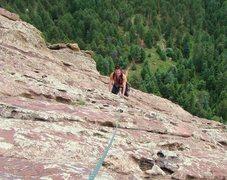 Rock Climbing Photo: Van cruising up the 4th pitch.