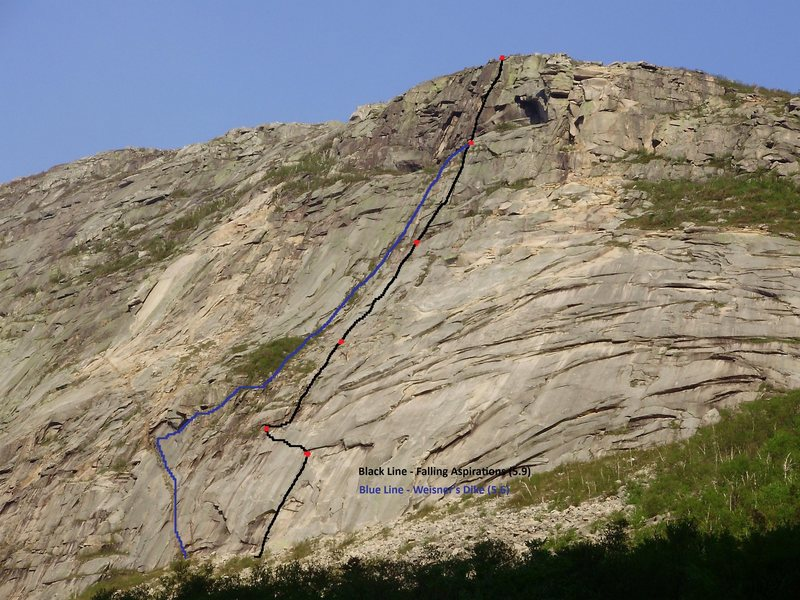 Rock Climbing Photo: Falling Aspirations is the black line, Weisner's D...