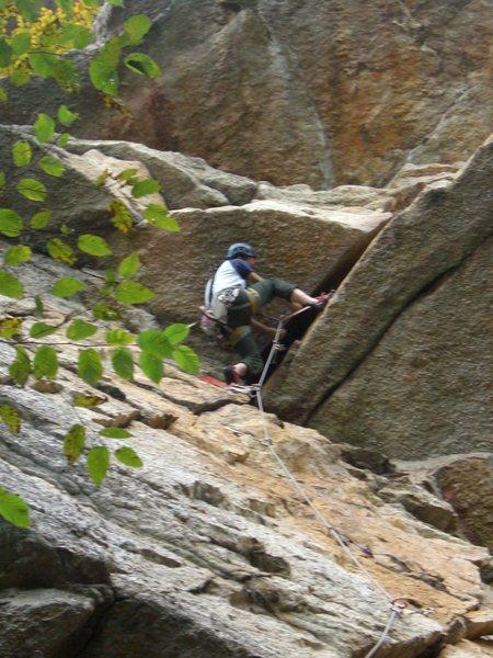 Rock Climbing Photo: Starting the layback. (Climber: Steven Cherry; Pho...