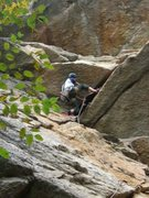 Rock Climbing Photo: Starting the layback. (Climber: Steven Cherry; Pho...