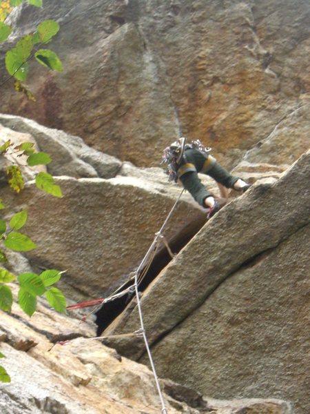 Rock Climbing Photo: Finishing the layback. (Climber: Steven Cherry; Ph...