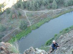 Rock Climbing Photo: Jason finishing up the mossy third pitch