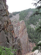 Rock Climbing Photo: Mike Harris and company at P2 belay station for Wi...