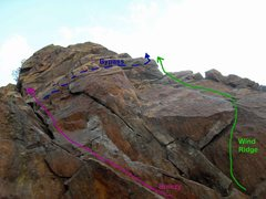 Rock Climbing Photo: Starts of Breezy and Wind Ridge. The purple line i...