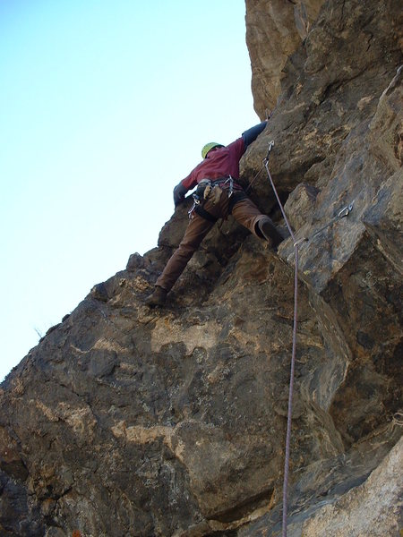 Darren on pitch 2 - FA of Ride the Snake & Gneiss Roof linkup.