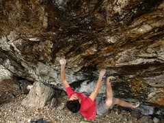 Rock Climbing Photo: Working crux of 'Pyrrhic Victory'.