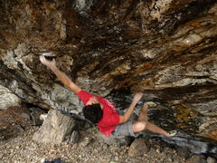 Rock Climbing Photo: Working the crux. Day of of two day FA.