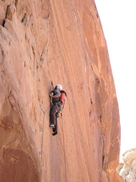 Rock Climbing Photo: Lance on P1 5.11.On sight ground up ..pro placed f...