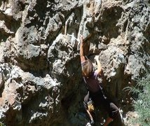 Rock Climbing Photo: Laura cranking in rifle spring of 2000