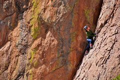 Rock Climbing Photo: An unknown climber on Dirty Diagonal. She must hav...
