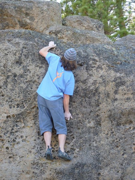 Rock Climbing Photo: Balance moves up high off the two finger underclin...