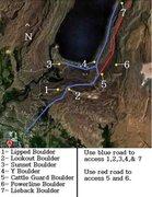Rock Climbing Photo: Boulder locations on Fremont Lake Road