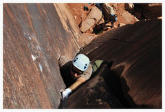 Rock Climbing Photo: nearing the chains on binou's