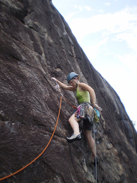 Mary on the crux pitch P2 of Toads R' Us