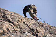 On lead on Vescho Wall. El Chaltén, Argentina.