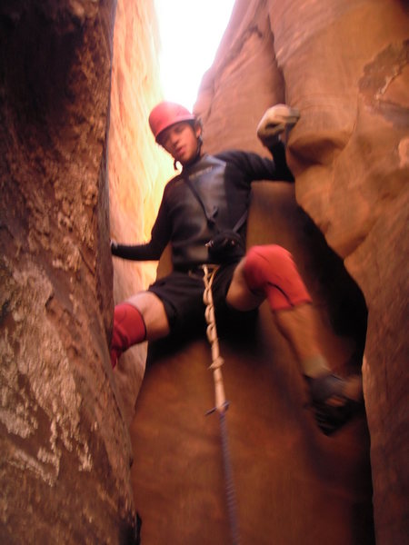 Rock Climbing Photo: Aaron in the lead at one of the up climbs near the...