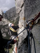 Rock Climbing Photo: Start of P5 the crux pitch, start 10 feet to left ...