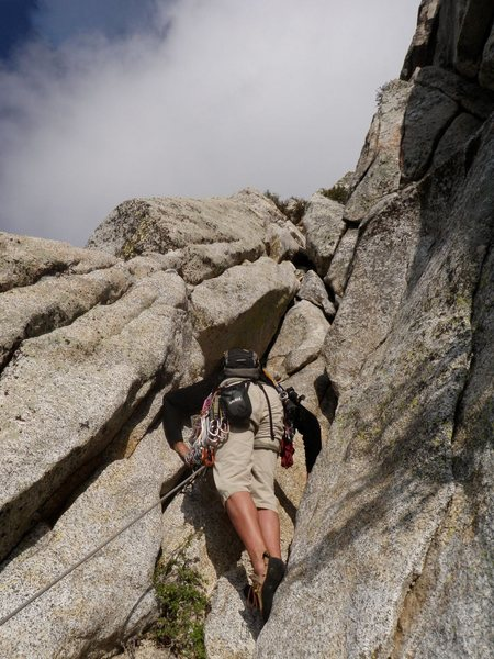 Rock Climbing Photo: Kerry leading P6 which has a 5.9 variation to the ...