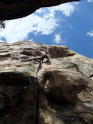 Rock Climbing Photo: Ben arriving at the grovely narrow chimney/offwidt...