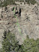 Rock Climbing Photo: Topo overview of the route from across the canyon.