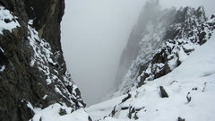 Rock Climbing Photo: Last portion sloppy snow, after a long section of ...
