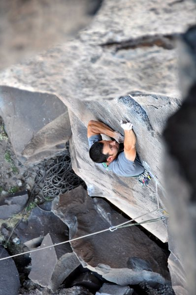 Rock Climbing Photo: Fishing for the finger locks above the crux roof. ...