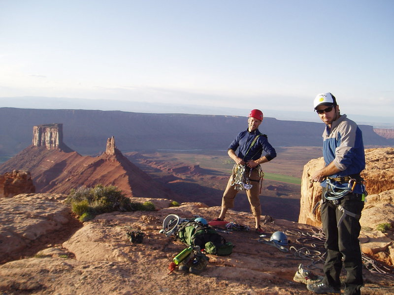 Topping out the Empirical Route on the Rectory, Moab Area.