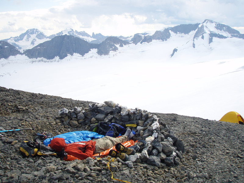 camp on the Lyell Icefield