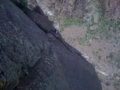 Rock Climbing Photo: End of the long .12 pitch, a tough .10++ section, ...