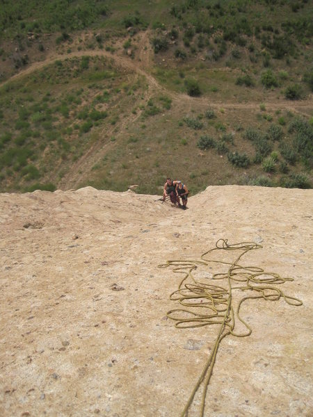At the belay of Goldline. Pic taken looking down from the belay of Hyperion.