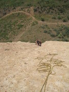 Rock Climbing Photo: At the belay of Goldline. Pic taken looking down f...