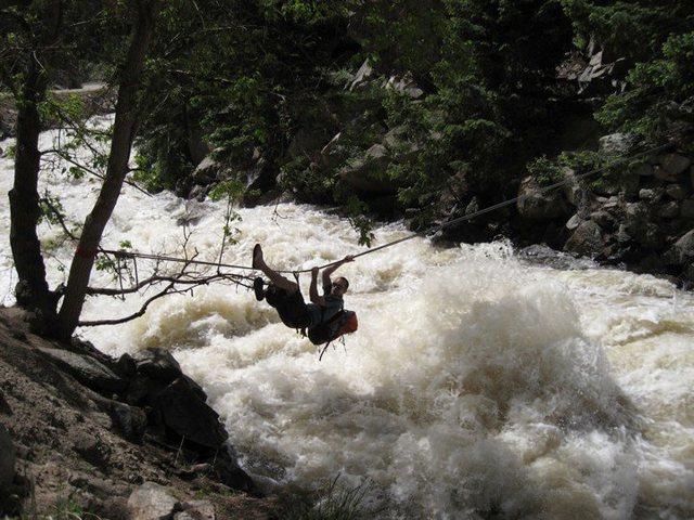 Tyrolean across Boulder Creek