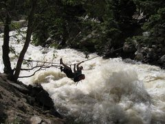 Rock Climbing Photo: Tyrolean across Boulder Creek