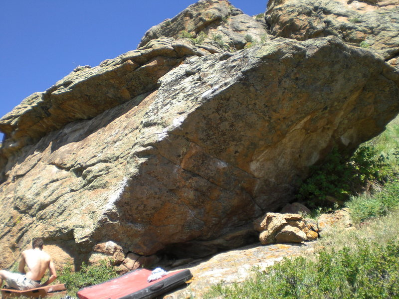 This is the overhanging east face of the boulder.