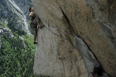Rock Climbing Photo: Brandon heading onto the slab on To Air is Human 5...