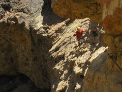 Rock Climbing Photo: Living Badly, 5.7. The traversing first pitch.
