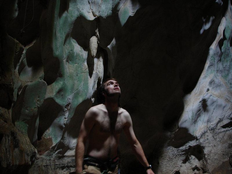 Climbing in a cave near Chiang Mai, Thailand.