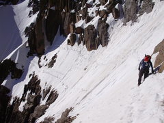 Rock Climbing Photo: Crossing Broadway en route to the Notch Couloir.  ...