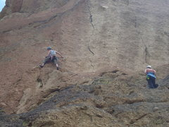 Rock Climbing Photo: Dan leads out from the 2nd belay of Wherever I May...