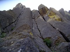Rock Climbing Photo: Twin Cracks climbs the parallel cracks on the left...