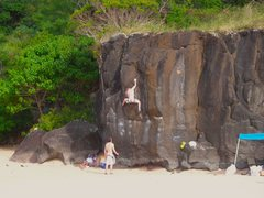 Rock Climbing Photo: fun traversing boulder problem