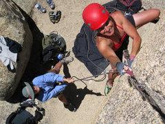 "Rock Climbing Photo: Joan Bertini working her way up ""Solo Crack&q..."