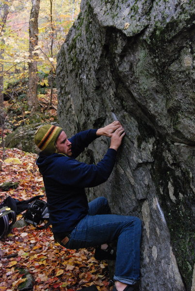 Tim making the crux match, he would make the first ascent the following day.