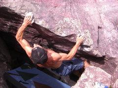 Rock Climbing Photo: Up the lip.