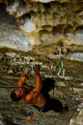 Rock Climbing Photo: Kelsey Gray hurries to make a few moves before the...